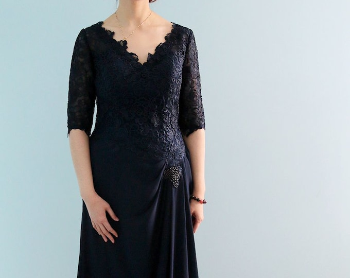Beautiful High Quality Floor Length 1/2 Sleeve Navy Blue Lace Prom or Mothers of the Bride Evening Dress Formal Gown