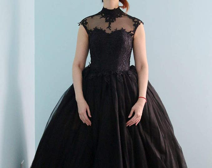 Goth Style Black Lace High Neck Wedding Bridal Dress