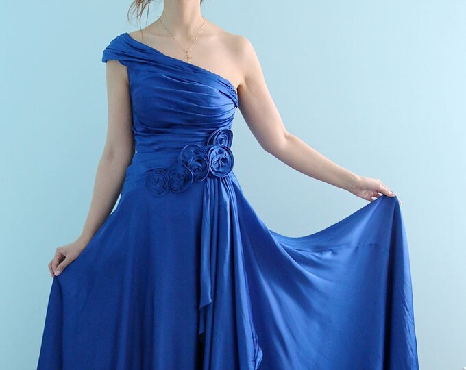 Long Royal Blue Satin Single Shoulder Prom, Bridesmaid, Wedding, Bridal, Honeymoon Dress, Evening Gown