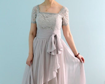 2583a8e8bad Beautiful High Quality Floor Length Short Sleeve Lace Prom or Mother of the Bride  Dress in Light Grey