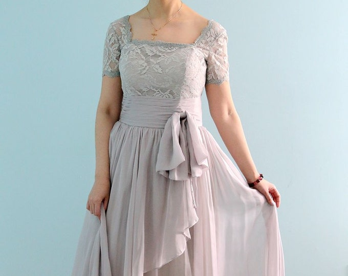 Beautiful High Quality Floor Length Short Sleeve Lace Prom or Mother of the Bride Dress in Light Grey
