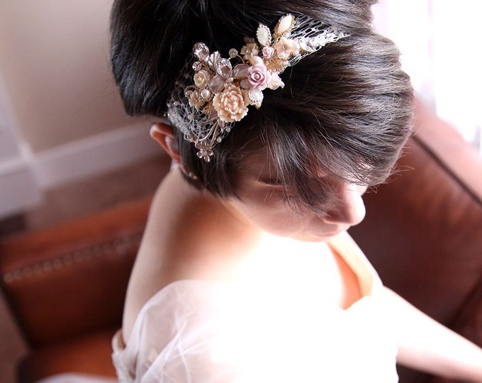 SALE-Rose Bridal Head band Shabby Country Wedding Romantic Head piece Floral Collage Large Rose Ivory Pink Antique Gold Brass Leaf Leaves