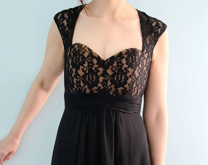 Beautiful High Quality Queen Anne Neckline Black Floor Length Lace Prom or Mother of the Bride Dress with Keyhole Back