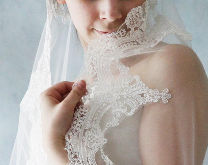 Long Alencon Lace Cathedral Mantilla Briadal Wedding Veil-L'Amei Bridal