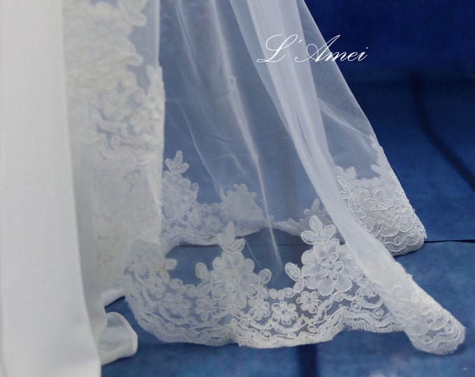 Long French Lace Cathedral Mantilla Bridal Wedding Veil.