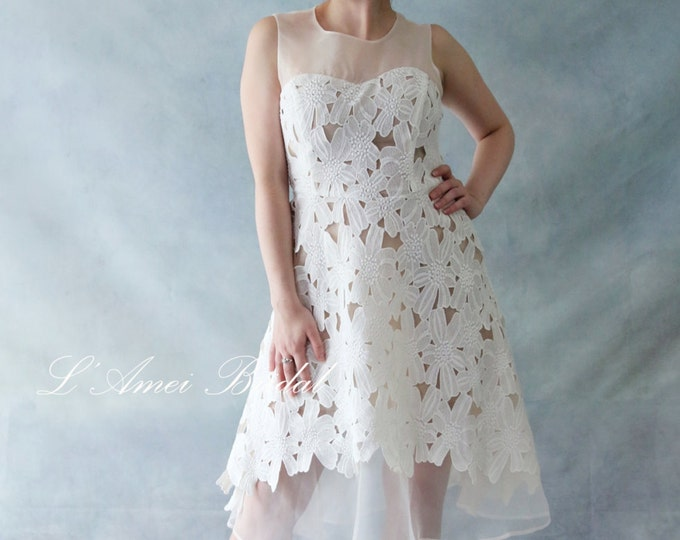 Clearance-Last one Short Knee  Tea Length Ivory Lace A-Line wedding dress, illusion neckline lace Boho Wedding Party Dress