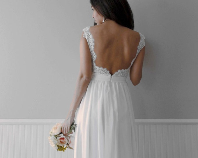 Romantic Backless Boho Lace Wedding Dress Great for Outdoors or Beach Wedding