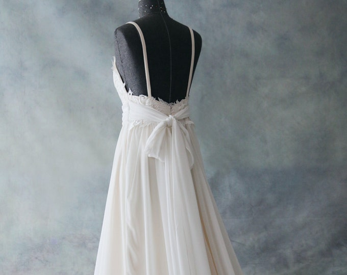 Romantic Backless Light Champagne and Ivory white  Boho Lace Wedding Dress Great for  Beach Wedding- AM 7040020