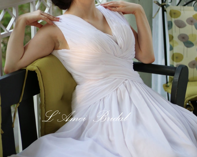 Romantic Custom Made Soft Chiffon Sleeveless Beach Wedding  Dress with Sexy Deep V Neck and Open back dress