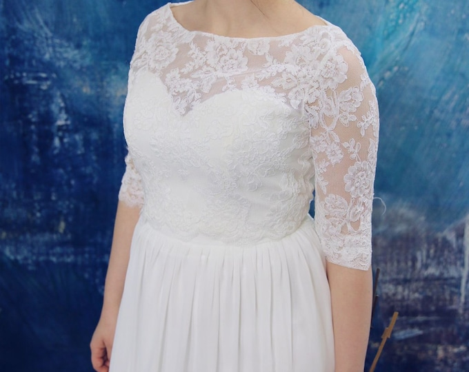 Long sleeve lace wedding dress - Bohemian wedding dress - 2 pieces Rustic wedding dress -Simple lace wedding dress