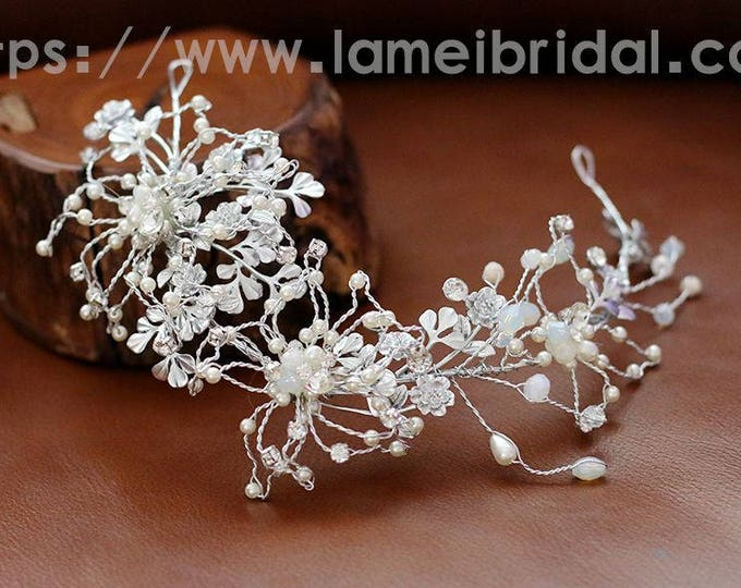 Vintage Style Light Silver Flower and pearl hair vine , Flower Bridal Crown Wedding Hair Circlet adorned with Rhinestones and Glass Pearls