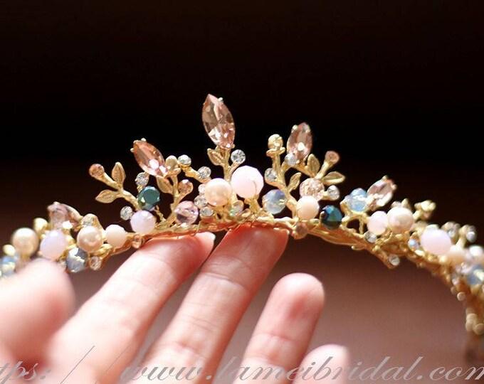 Woodland Princess Crystal Wedding Tiara-Gold and Champagne beaded bridal crown- Rhinestone wedding Crown for wedding or  prom dress