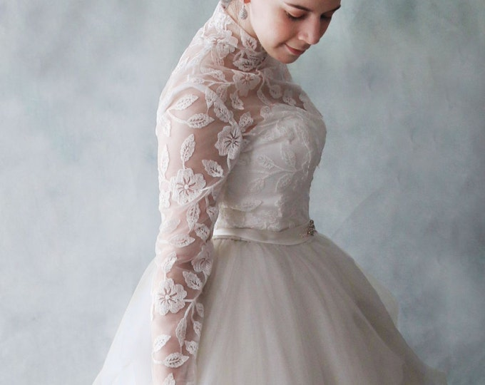 Dreamy Open high neck Romantic Floor length A-Line Long Sleeved High neck embroidered Lace Wedding Dress Princess Katherine - L'amei