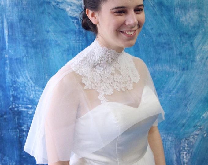 Chic Ivory French Lace on Soft Tulle Capelet Bridal Shaw Wedding Bolero Cape