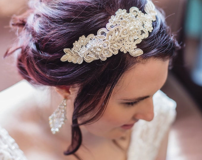 Bridal Lace Headpiece, Hand-beaded Ivory Wedding Hair Band, Bridal Lace Hair Clip