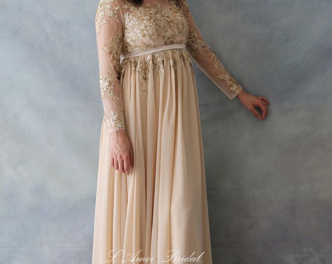 Custom High waist Floor Length Golden Sequin Wedding or Prom Dress,  Bridal Gown - 7782027
