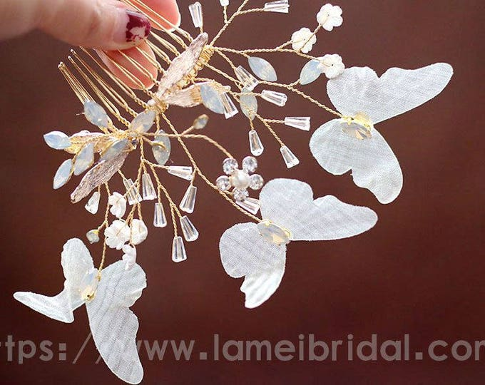 Pretty Butterfly in golden Comb - Bridal Flower Hair Accessory - Bride Bridesmaid Flowergirl - small Flowers Comb