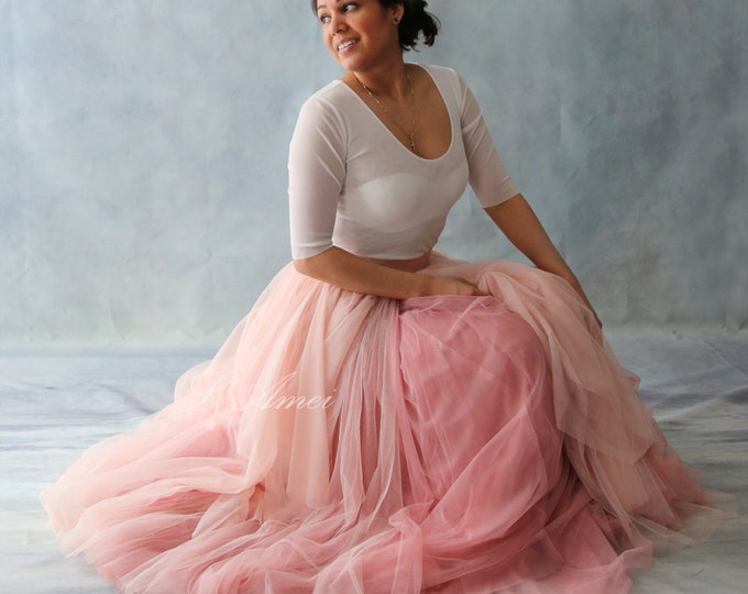 Skirt Only! Hand Made Rustic Flower Blush Vintage Tulle Dream Floor Length Skirt