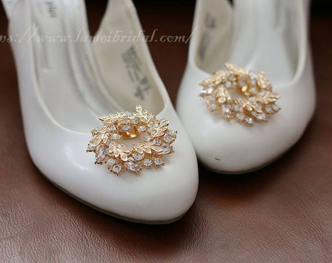 Pair of  golden Crystal Rhinestone Wedding Bridal Shoe Clips set