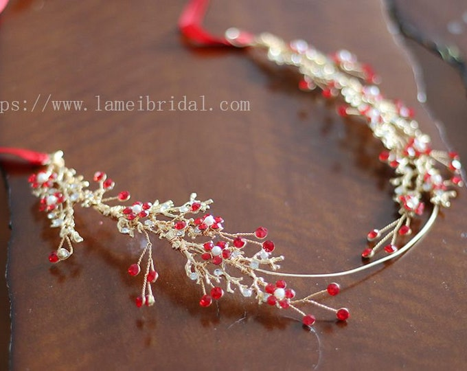 Gold wine Red Whimsical Flower Crown ,Princess Wedding Headband, Red Bridal hair vine ,Gold fairy Tiara , Prom Headpiece,Boho flower vine