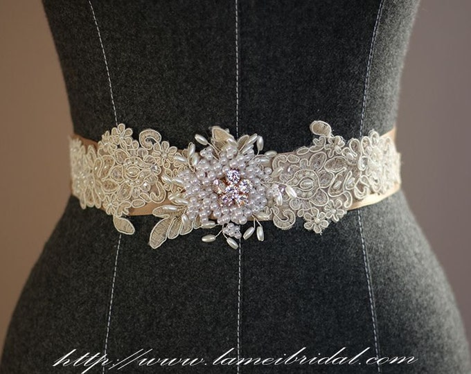 Nude Lace Wedding dress sash , nude lace Bridal Sash Belt,  champagne ribbon Wedding dress belt , champagne wedding Accessory