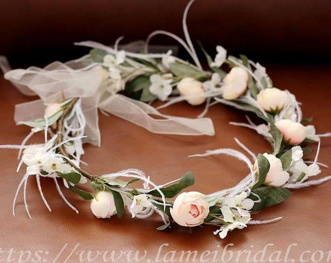 Rustic Woodland Wedding Floral Flower Crown ,Ivory flower headband,Bridal Headpiece ,Flower Hair Wreath Accessory, rose bridal head Wreath
