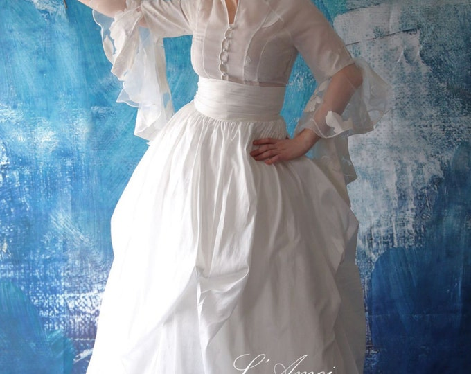 Skirt Only! Hand Made White Rustic Vintage Taffeta  Wedding Dream Ball Gown Floor Length Skirt, Wedding Skirt