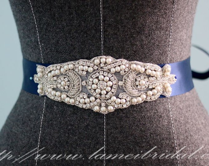 Navy blue Bridal Sash - Blush Wedding Dress Sash Belt , Handmade Small ivory white Rhinestone Bridal Sash belt , dress belt