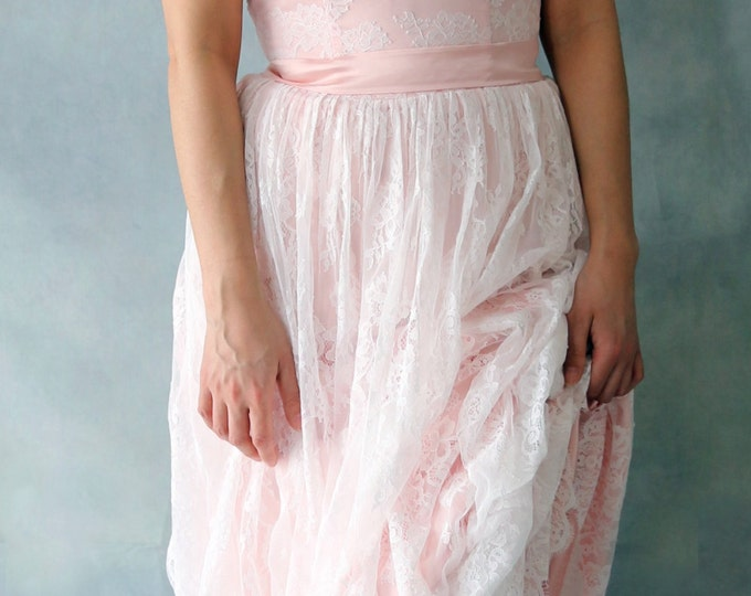 Soft Blush pink Elegant Romantic Woodland  or Beach Lace Wedding Dress,Custom Made Soft Lace Bridal Gown