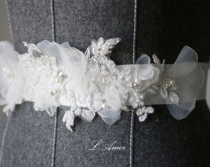Simple Design Beautiful Wedding Sash Bridal Belt with Beaded Lace and Hand Cut Small white Organza Flower on an Ivory White Ribbon