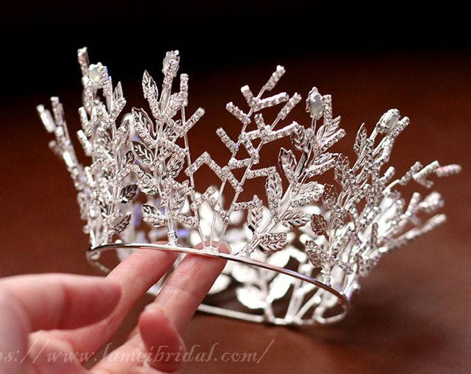 Small Loyal Queen Wedding hair crown, Princess Crystal Wedding Tiara,Sliver leaf Crystal Bridal Tiara,Wedding cake Crown,Wedding ring crown