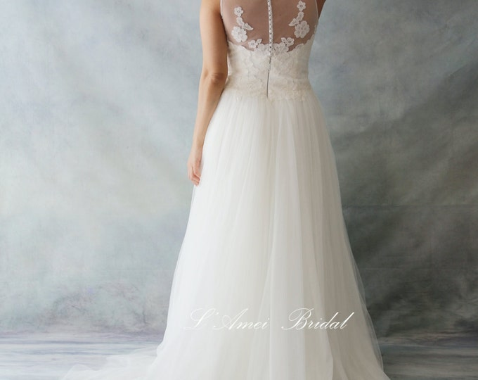 Clearance-Romantic Boho Lace Wedding Dress Great for Outdoors or Beach Wedding - AM12364020 -Elizabeth 2016