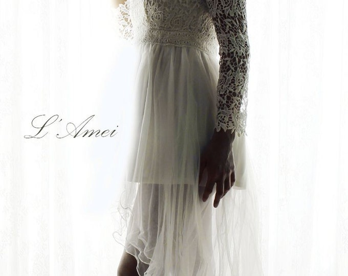 CLEARANCE - High Neck Line Short Front Long Back Long Sleeve Lace Wedding Dress. Perfec for the Dancing Bride