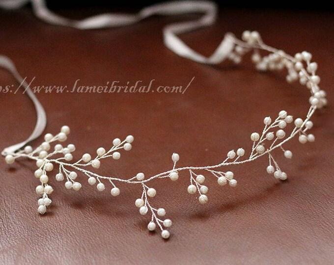 silver white Bohemian Pearl Hair Vine , wedding Headband bridal  Crown ,Bridal floral headpiece,Pearl Bridal Hair Vine, boho hair vine