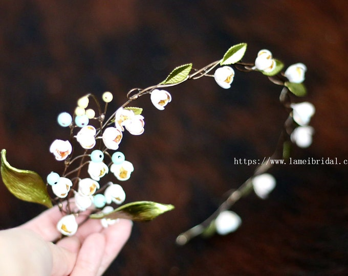 Forest Princess wedding crown ,  Bell flower Headband,Floral Bridal Circlet leaves and small  Bell flower Wedding Crown Headpiece  Accessory
