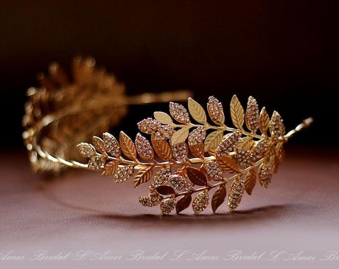 Bridal Gold Rhinestone Leaf Headpiece, Gold wedding Headband ,Formal Wear Wedding Tiara Diadem Crown, Bridal head Wreath