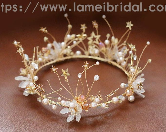 Gold star crown,Gold Bridal Headpiece Headband with Super Cute small stars ,butterflies ,Prom,birthday or holiday headband ,star crown