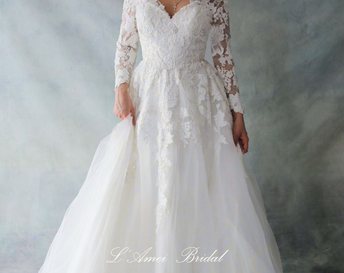 CLEARANCE - Retro Design Simple Elegant Long Sleeve French Lace V-Neck Wedding Dress Absolutely Loaded with Bling