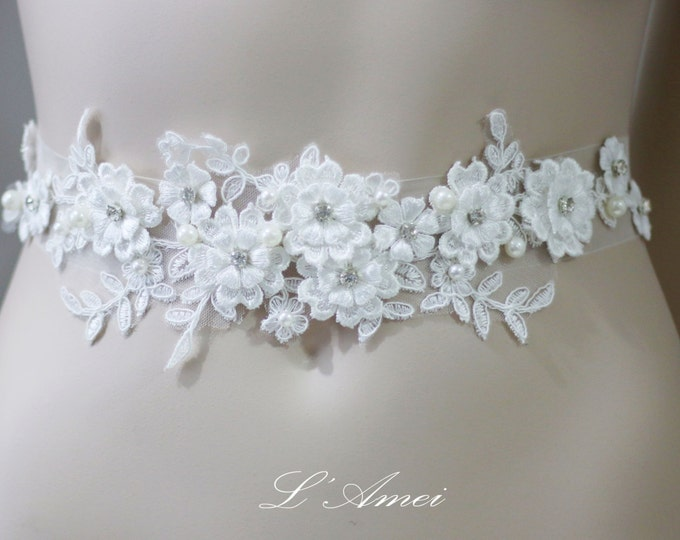 Ivory White Lace Flower on a see through ribbon ,lace Wedding Belt Bridal Sash