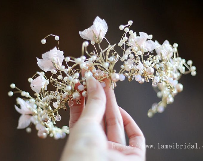 Woodland Princess Rose Gold and pink flower Wedding crown , Gold Crown ,Gold bridal Tiara , Flower  crown,Gothic Tiara , Fairy Queen crown