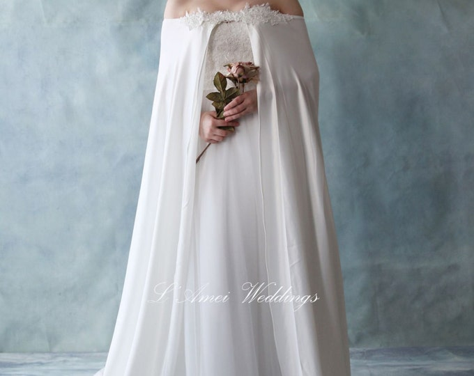 Chic Beaded Lace Neckline Floor Length Wedding Bridal Cape in Soft Satin and Accented with Bling