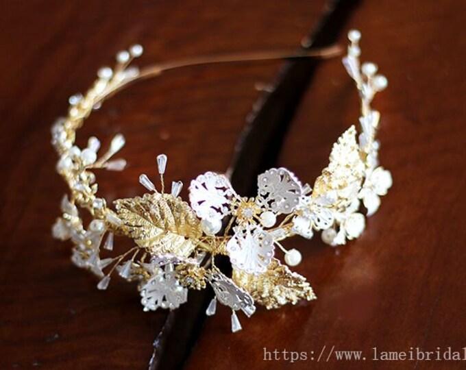 Bridal boho Gold flower crown, floral bridal headdress, wedding flower vine, bridal flower forehead crown, Gold bridal headband
