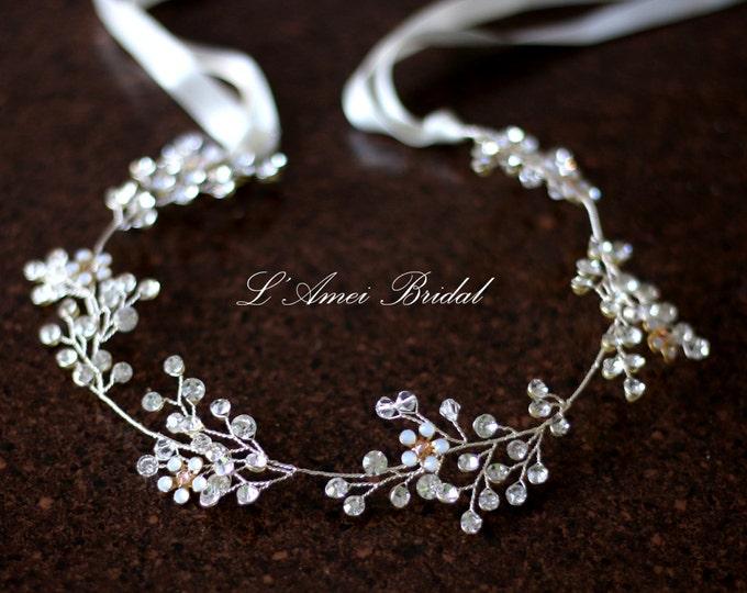 SALE-Hand made Rhinestone Crystal Bridal hair vine, Wedding head Wreath ,Bridal hair Vine of  Rhinestone,Silver small flower hair vine