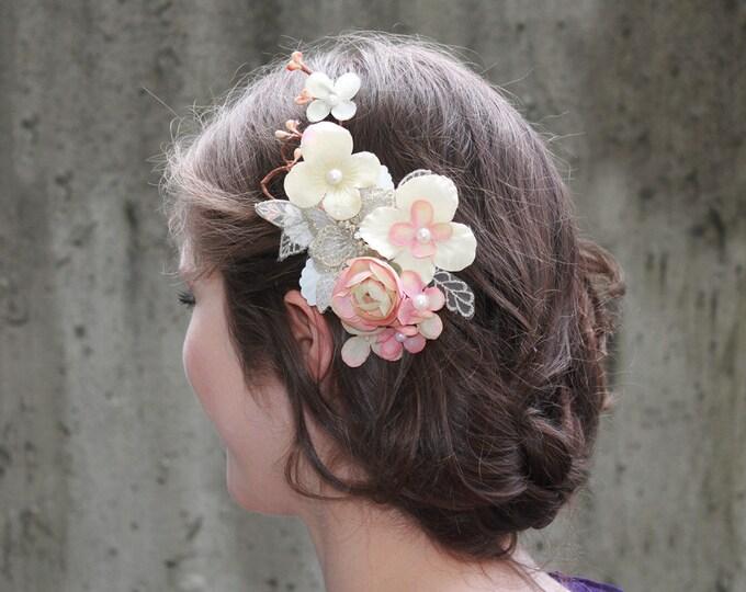 Clearance-Blush Bridal Flower Hair Clip, Wedding Hair Accessories, Cherry Blossom Hair Accessory, Pink bridal headpiece,wedding hair clip