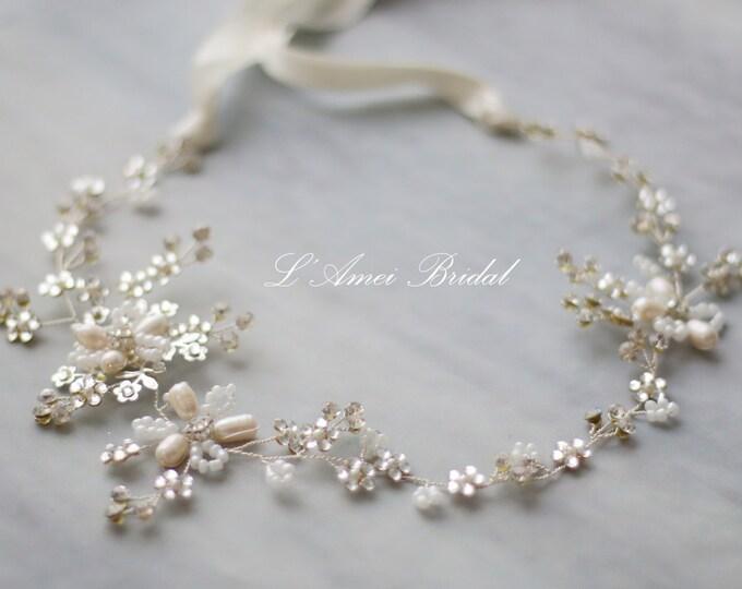 SALE silver or gold Bohemian Freshwater Pearl Hair Vine Headband Crown Bridal floral headpiece, Glod freshwater pearl hair vine, boho vine