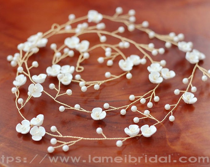 Long Rustic Flower Wedding Hair vine ,Bridal Hair Vine, Wedding hair vine, Flower hair vine, 1 Meter Long Flower Hair vine