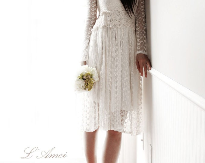 Short Ivory Vintage Style Long Sleeve Lace Wedding Bridal Dress for woodland beach wedding-L'Amei- Ready to ship