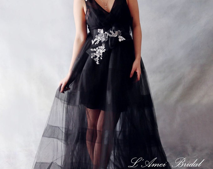 CLEARANCE - Black Goth Style Tulle Wedding Bridal Dress with White Lace Accents and Train - YS198350978