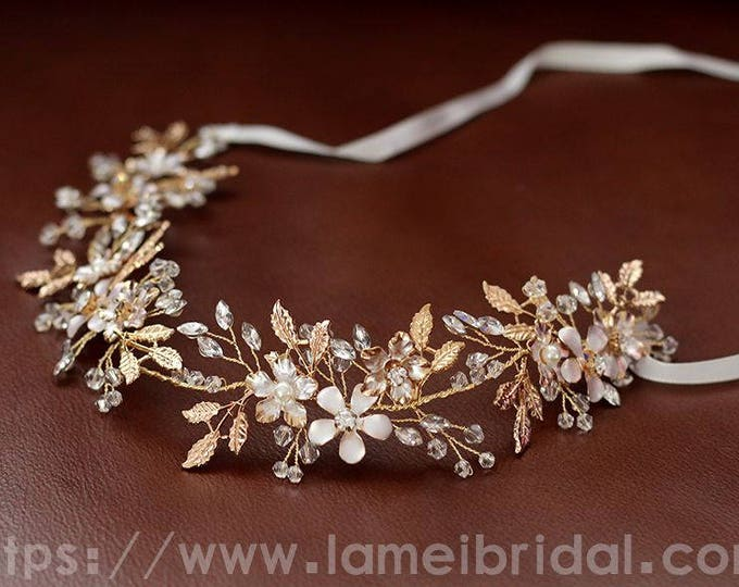 Silver and Gold crystal flower hair vine, Bridal Hair Accessories, Chic Gold hair vine, bridal headpiece, boho style wired hair accessory