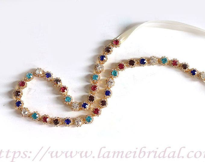 Ready To Ship - Rhinestone encrusted bridal belt, Crystal Belt, Bridal Sash,Crystal Pearl Weave Bridal Belt Sash in gold, Blue and pink